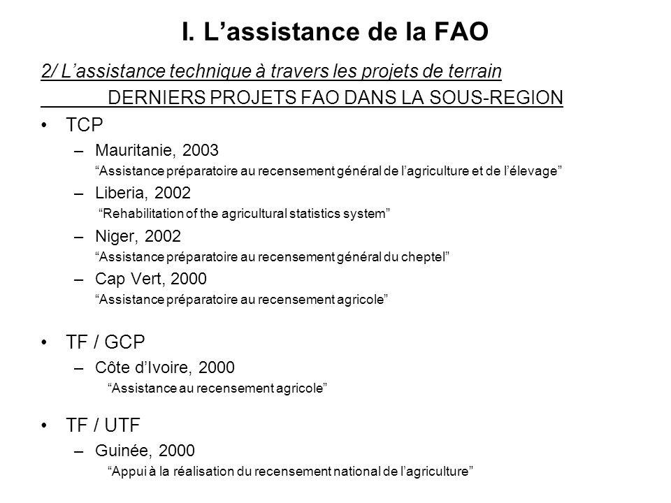I. Lassistance de la FAO 2/ Lassistance technique à travers les projets de terrain DERNIERS PROJETS FAO DANS LA SOUS-REGION TCP –Mauritanie, 2003 Assi