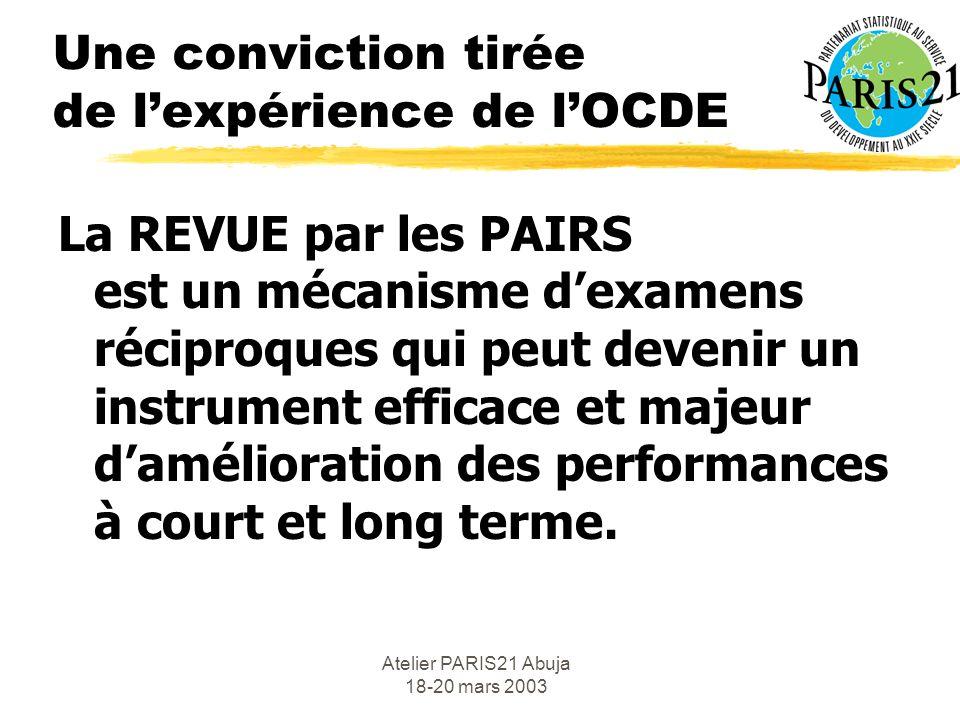 Atelier PARIS21 Abuja 18-20 mars 2003 Une conviction tirée de lexpérience de lOCDE La REVUE par les PAIRS est un mécanisme dexamens réciproques qui peut devenir un instrument efficace et majeur damélioration des performances à court et long terme.