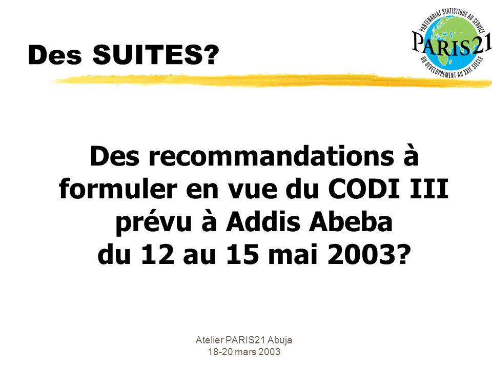 Atelier PARIS21 Abuja 18-20 mars 2003 Des SUITES.