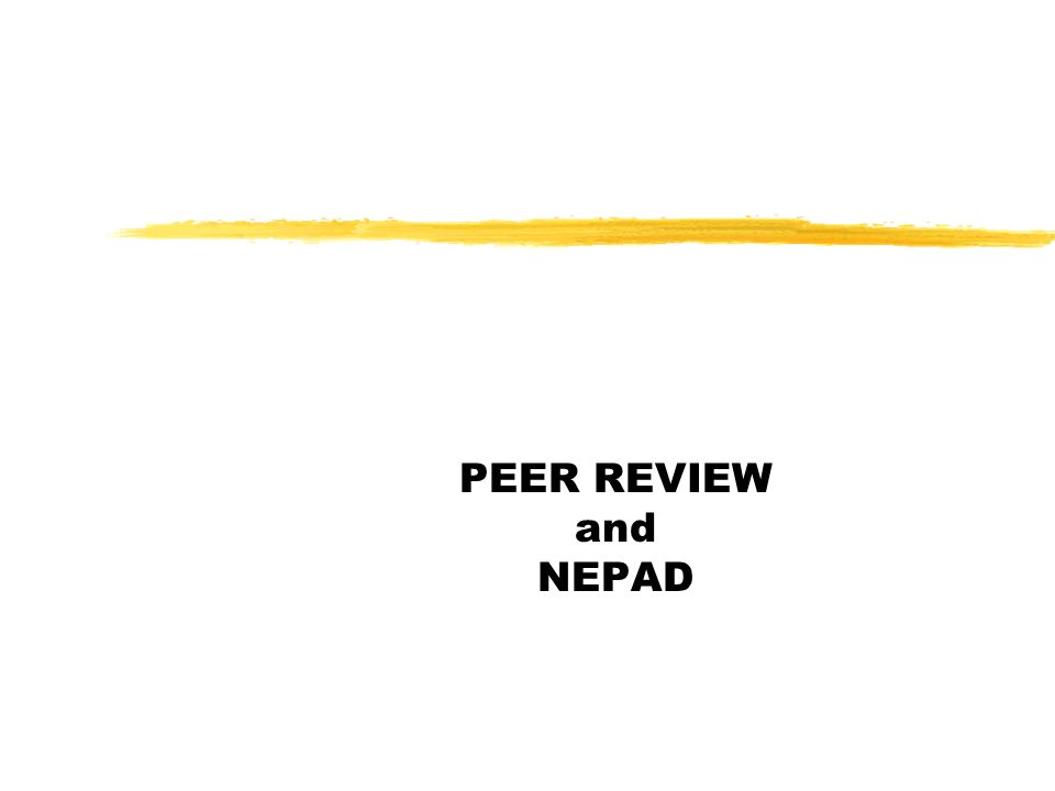 PEER REVIEW and NEPAD