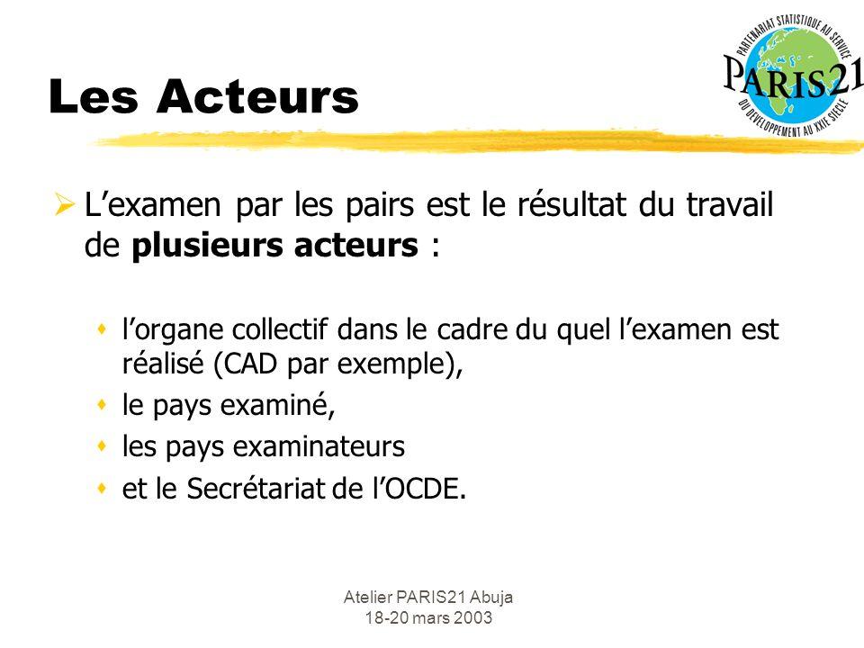 Atelier PARIS21 Abuja 18-20 mars 2003 Les Acteurs Lexamen par les pairs est le résultat du travail de plusieurs acteurs : slorgane collectif dans le cadre du quel lexamen est réalisé (CAD par exemple), sle pays examiné, sles pays examinateurs set le Secrétariat de lOCDE.