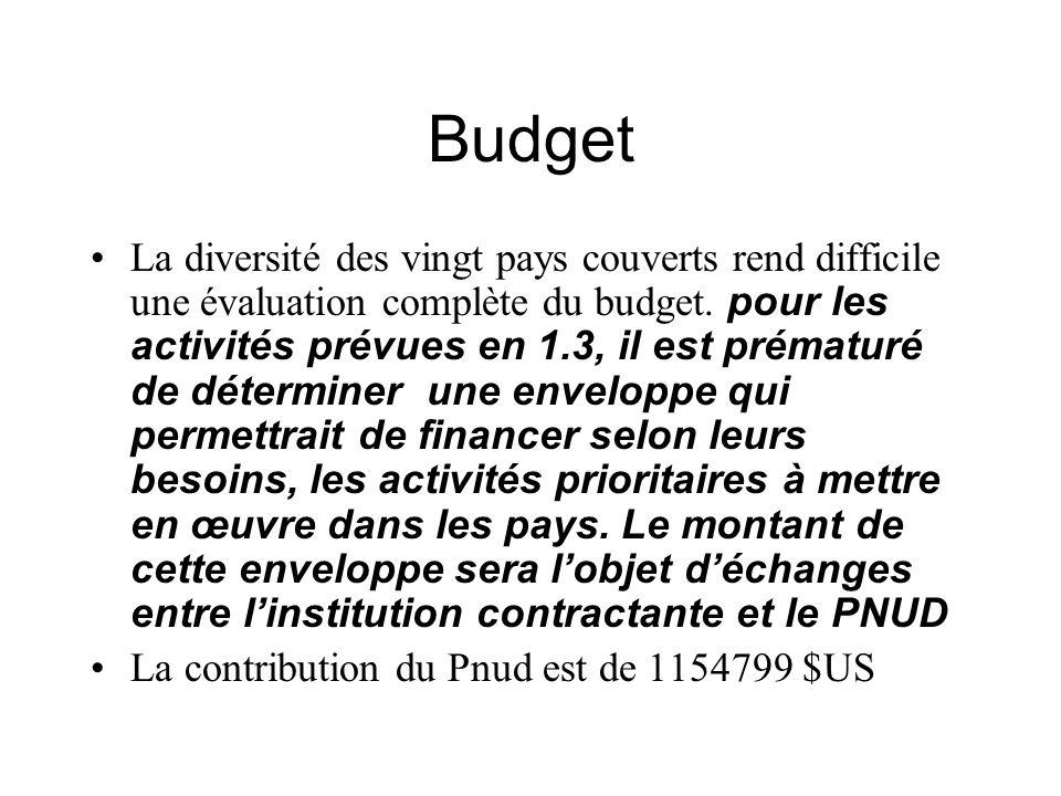 Budget La diversité des vingt pays couverts rend difficile une évaluation complète du budget.