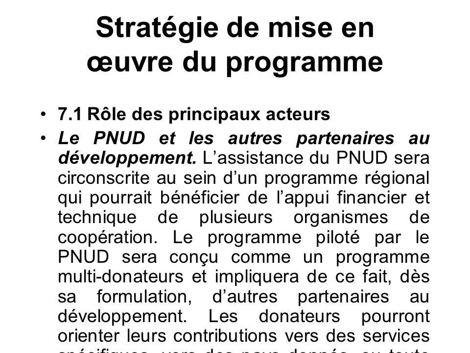 Stratégie de mise en œuvre du programme 7.1Rôle des principaux acteurs Le PNUD et les autres partenaires au développement.