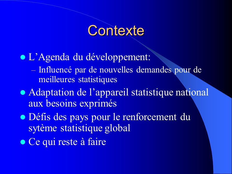 Nouvelles demandes Générées par: –Les stratégies de réduction de la pauvreté et autres stratégies nationales Stratégies définies par les pays et mises en place par les nationaux DSRP qui génèrent de nouvelles demandes de statistiques y compris de données qualitatives –Les indicateurs de développement du millénaire –Le Consensus de Monterrey Met laccent sur les résultats