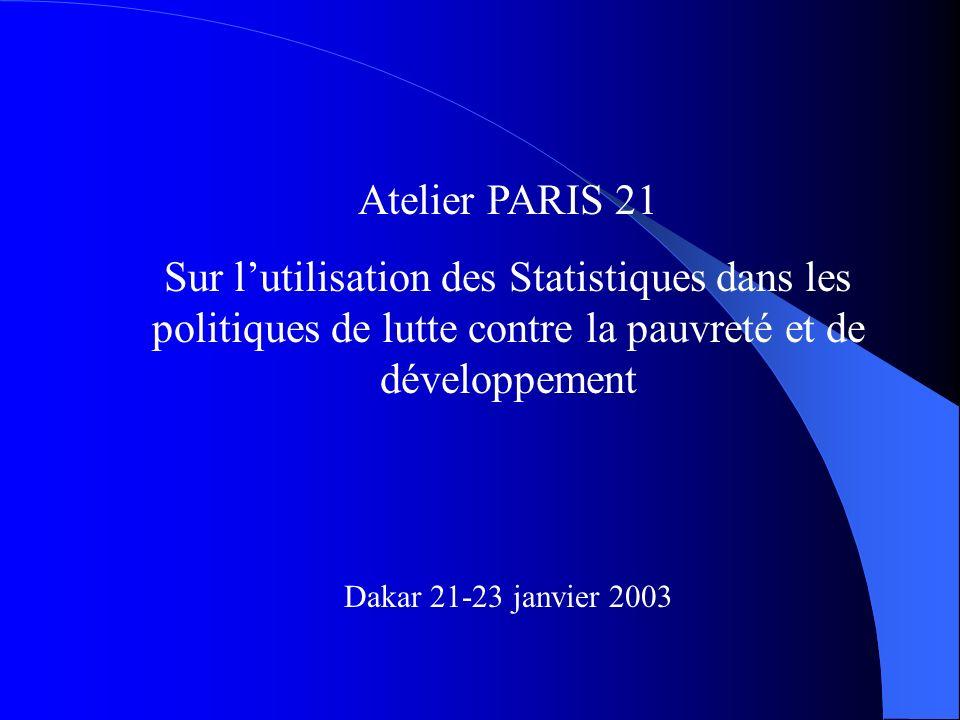 Atelier PARIS 21 Sur lutilisation des Statistiques dans les politiques de lutte contre la pauvreté et de développement Dakar 21-23 janvier 2003