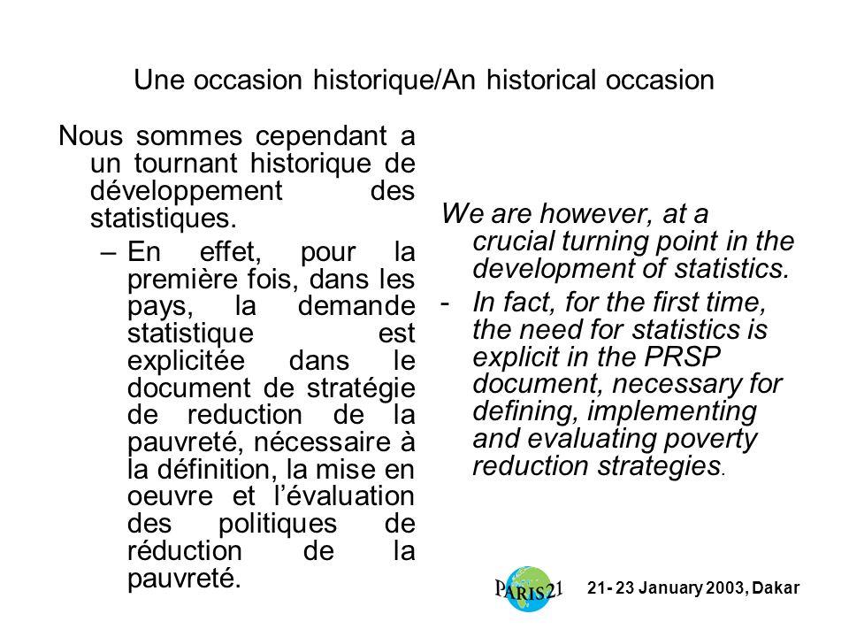 21- 23 January 2003, Dakar Une occasion historique/An historical occasion Nous sommes cependant a un tournant historique de développement des statistiques.