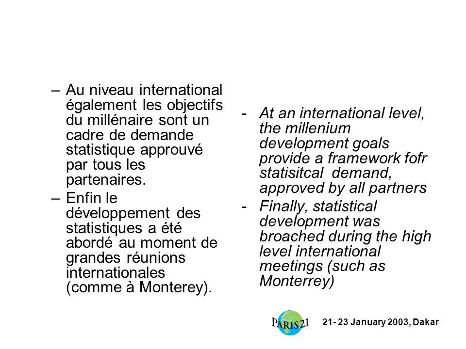 21- 23 January 2003, Dakar –Au niveau international également les objectifs du millénaire sont un cadre de demande statistique approuvé par tous les partenaires.
