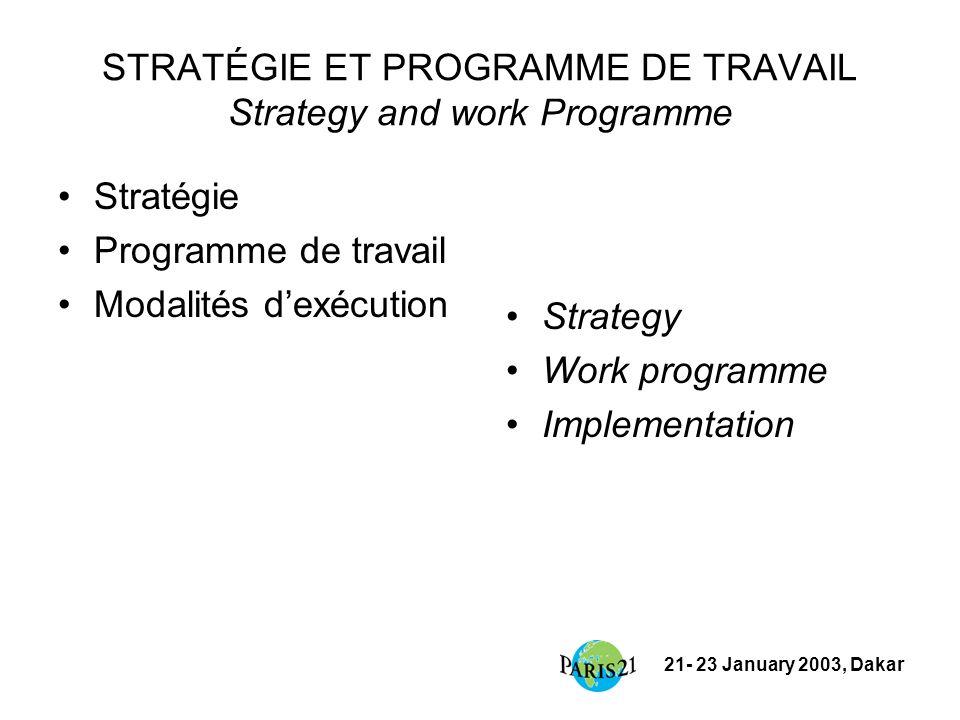 21- 23 January 2003, Dakar STRATÉGIE ET PROGRAMME DE TRAVAIL Strategy and work Programme Stratégie Programme de travail Modalités dexécution Strategy Work programme Implementation