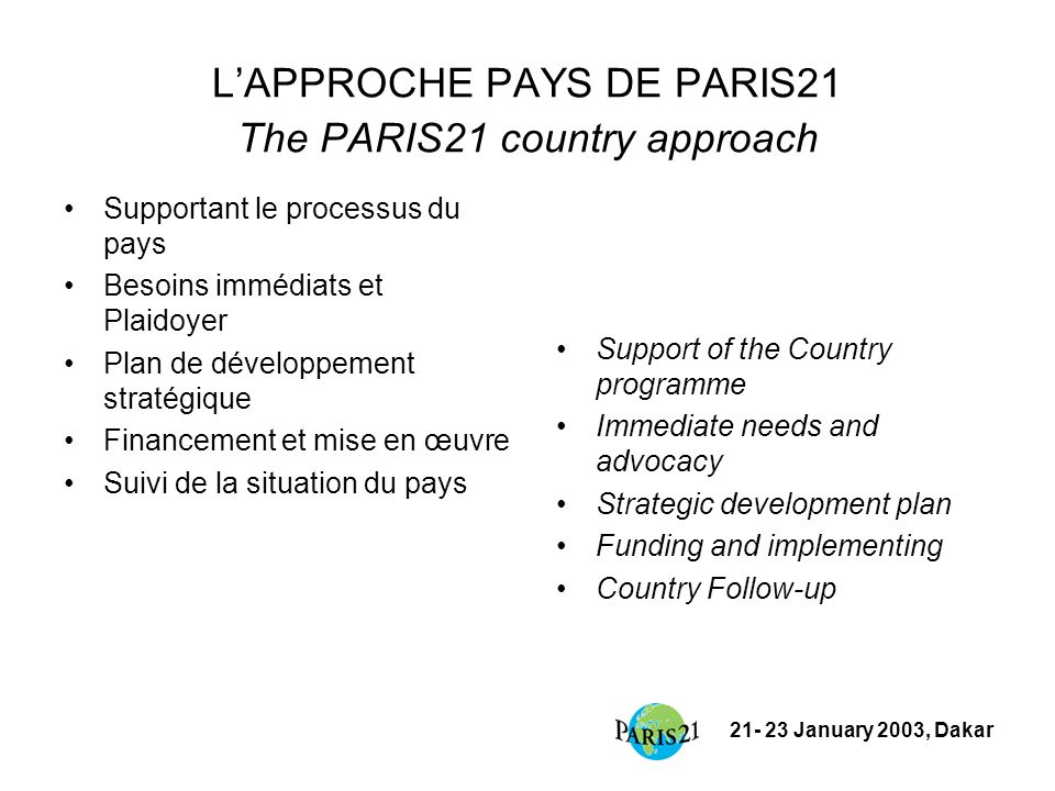 21- 23 January 2003, Dakar LAPPROCHE PAYS DE PARIS21 The PARIS21 country approach Supportant le processus du pays Besoins immédiats et Plaidoyer Plan