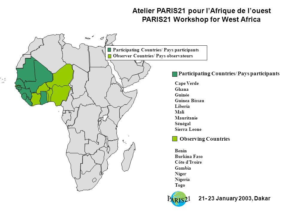21- 23 January 2003, Dakar Participating Countries/ Pays participants Observer Countries/ Pays observateurs Participating Countries/ Pays participants