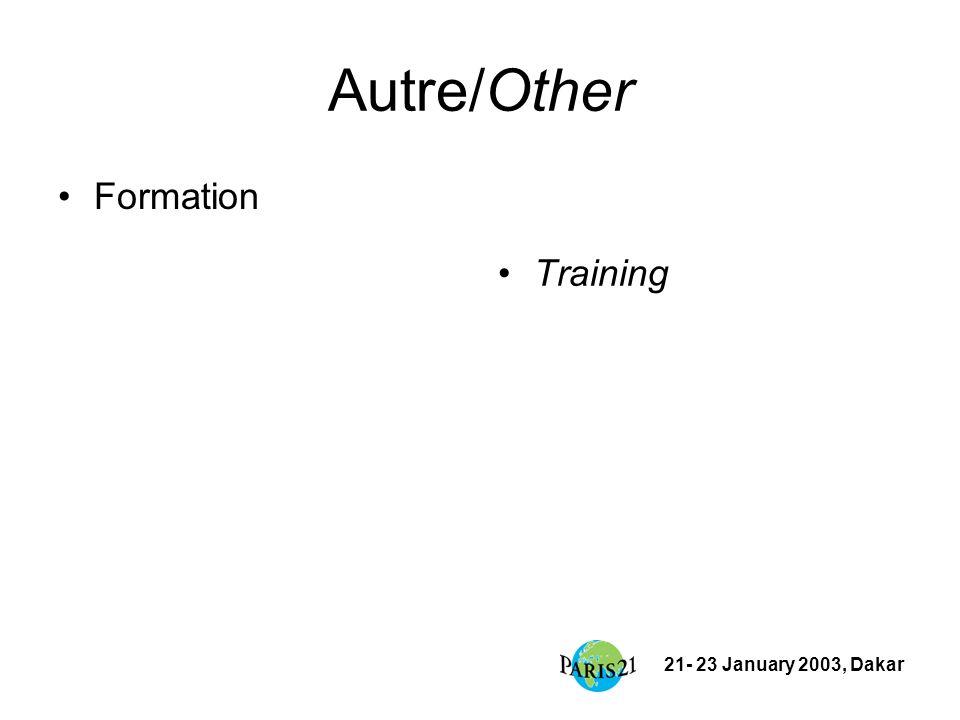 21- 23 January 2003, Dakar Autre/Other Formation Training