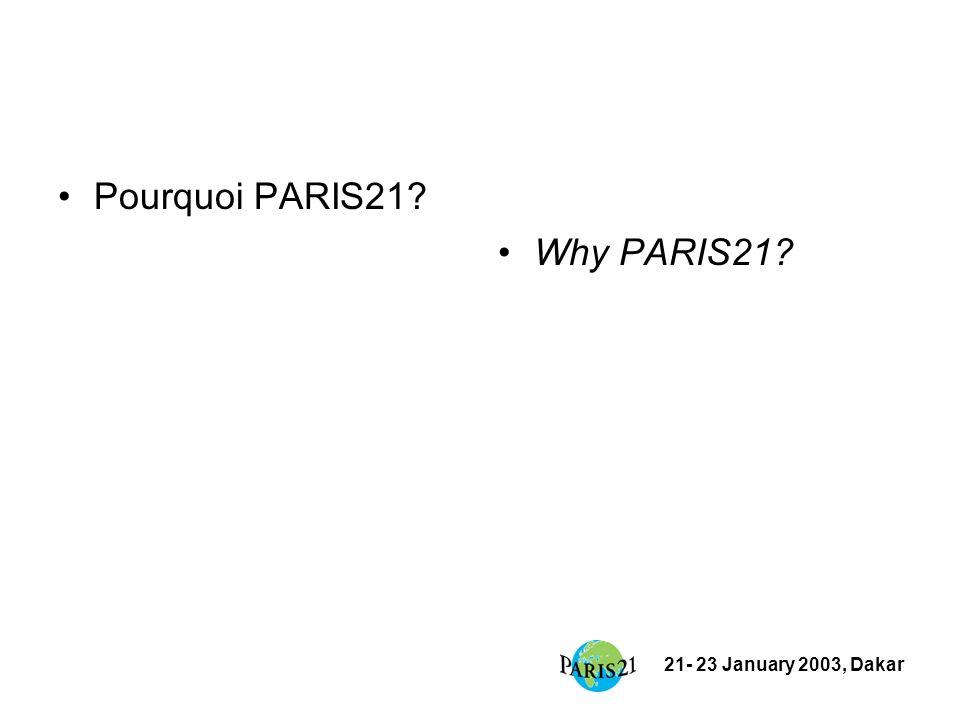 21- 23 January 2003, Dakar Établissement de PARIS21/ Establishment of PARIS21 Établissement de PARIS21 Créé en Novembre 1999 en réponse à la résolution ECOSOC pour la réalisation des objectifs de la conférence des NU sur le Développement Launched in Paris in Nov.
