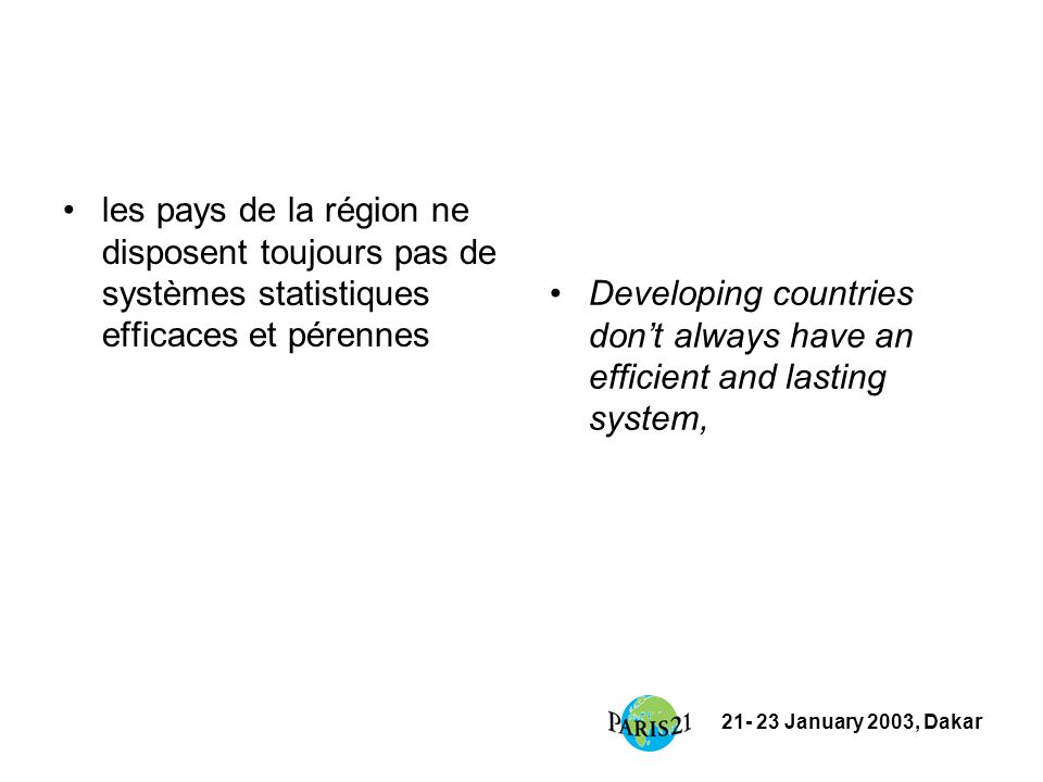 21- 23 January 2003, Dakar PARIS21 Secretariat Tel : + 33 1 45 24 90 51 Fax : + 33 1 45 24 94 06 Email : contact@paris21.org Web : www.paris21.orgcontact@paris21.orgwww.paris21.org Appel aux participants : exemples de bonnes pratiques experts suggestions Call to participants: examples of good practice experts suggestions