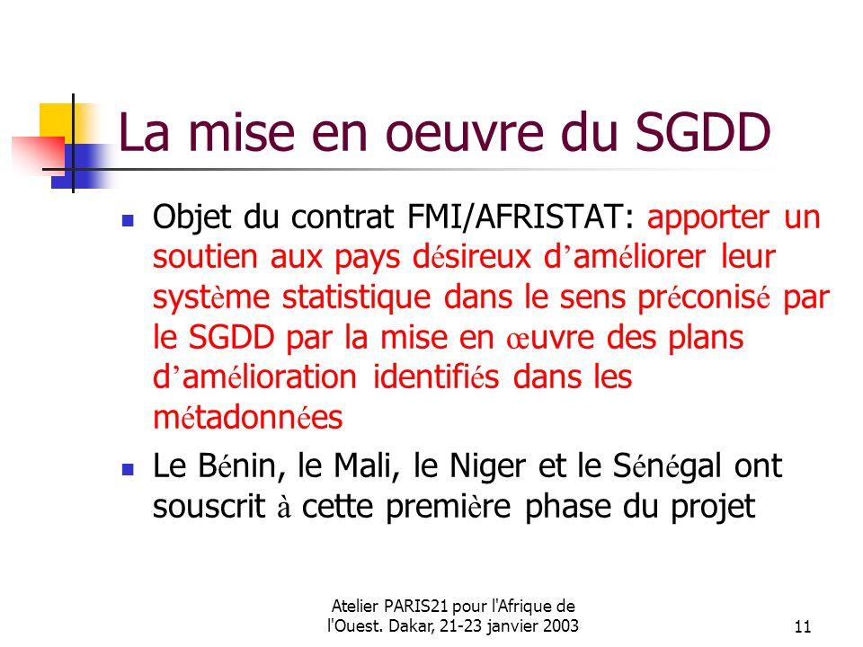 Atelier PARIS21 pour l'Afrique de l'Ouest. Dakar, 21-23 janvier 200311 La mise en oeuvre du SGDD Objet du contrat FMI/AFRISTAT: apporter un soutien au
