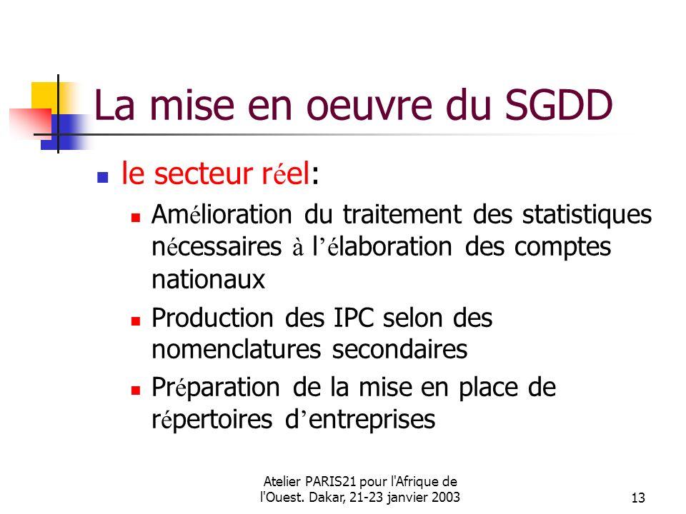 Atelier PARIS21 pour l'Afrique de l'Ouest. Dakar, 21-23 janvier 200313 La mise en oeuvre du SGDD le secteur r é el: Am é lioration du traitement des s