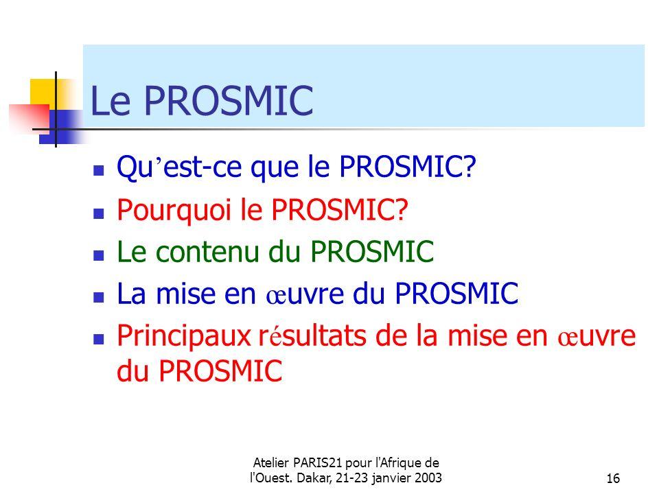 Atelier PARIS21 pour l'Afrique de l'Ouest. Dakar, 21-23 janvier 200316 Le PROSMIC Qu est-ce que le PROSMIC? Pourquoi le PROSMIC? Le contenu du PROSMIC