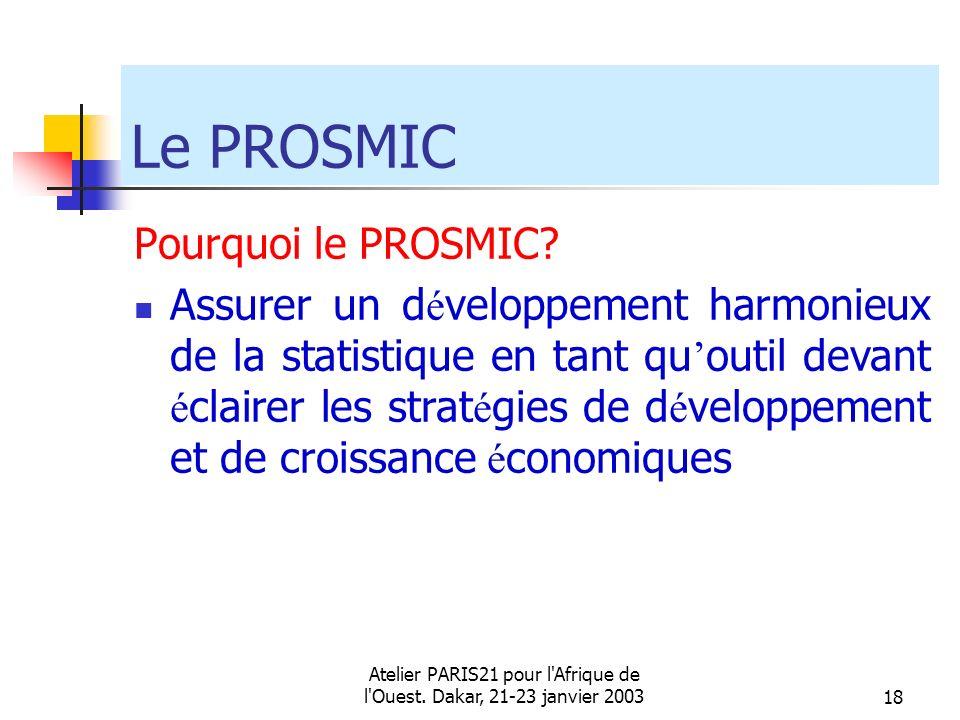 Atelier PARIS21 pour l'Afrique de l'Ouest. Dakar, 21-23 janvier 200318 Le PROSMIC Pourquoi le PROSMIC? Assurer un d é veloppement harmonieux de la sta