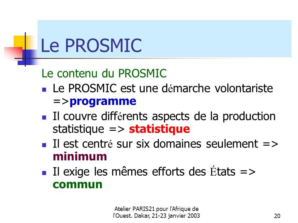 Atelier PARIS21 pour l'Afrique de l'Ouest. Dakar, 21-23 janvier 200320 Le PROSMIC Le contenu du PROSMIC Le PROSMIC est une d é marche volontariste =>p