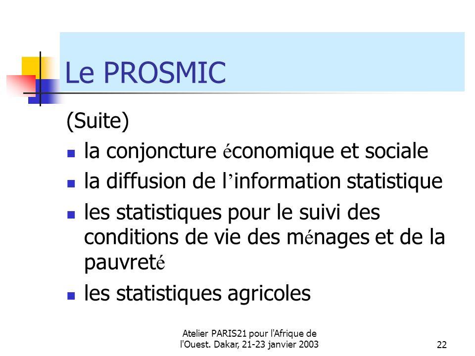 Atelier PARIS21 pour l'Afrique de l'Ouest. Dakar, 21-23 janvier 200322 Le PROSMIC (Suite) la conjoncture é conomique et sociale la diffusion de l info