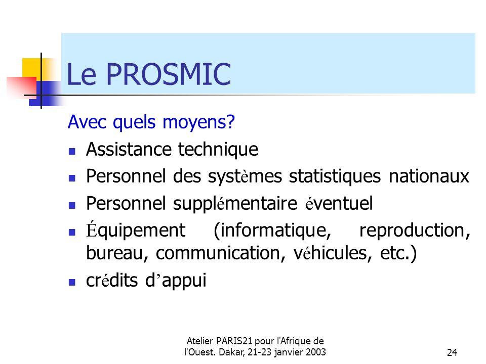 Atelier PARIS21 pour l'Afrique de l'Ouest. Dakar, 21-23 janvier 200324 Le PROSMIC Avec quels moyens? Assistance technique Personnel des syst è mes sta