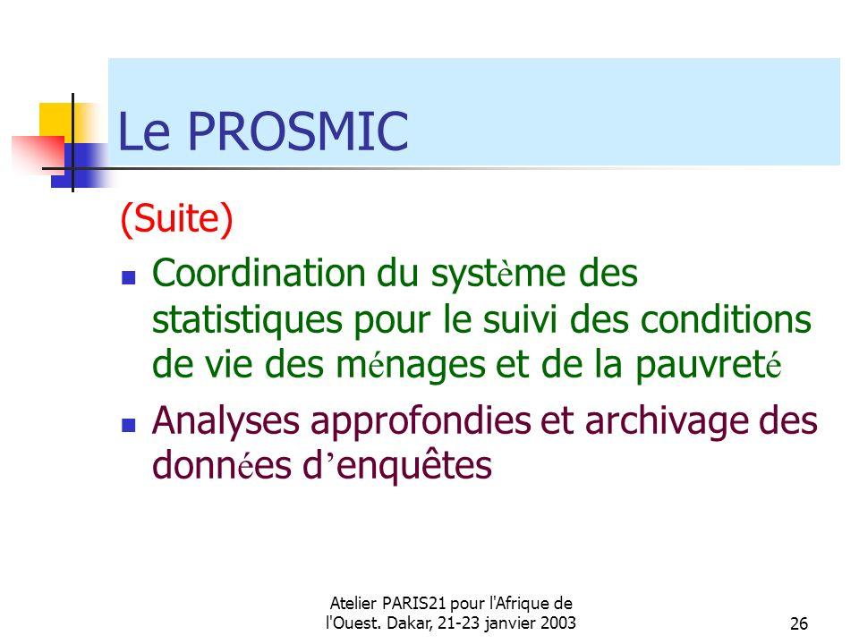 Atelier PARIS21 pour l'Afrique de l'Ouest. Dakar, 21-23 janvier 200326 Le PROSMIC (Suite) Coordination du syst è me des statistiques pour le suivi des