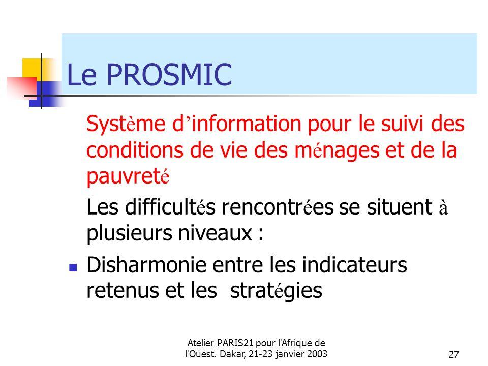 Atelier PARIS21 pour l'Afrique de l'Ouest. Dakar, 21-23 janvier 200327 Le PROSMIC Syst è me d information pour le suivi des conditions de vie des m é