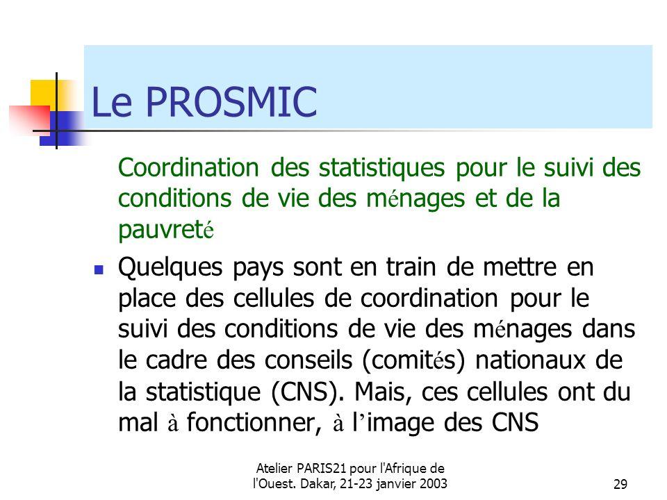 Atelier PARIS21 pour l'Afrique de l'Ouest. Dakar, 21-23 janvier 200329 Le PROSMIC Coordination des statistiques pour le suivi des conditions de vie de