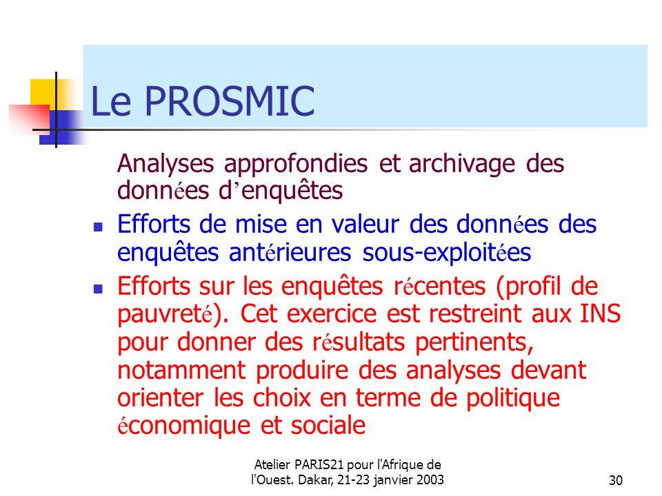 Atelier PARIS21 pour l'Afrique de l'Ouest. Dakar, 21-23 janvier 200330 Le PROSMIC Analyses approfondies et archivage des donn é es d enquêtes Efforts