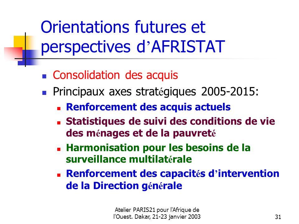 Atelier PARIS21 pour l'Afrique de l'Ouest. Dakar, 21-23 janvier 200331 Orientations futures et perspectives d AFRISTAT Consolidation des acquis Princi