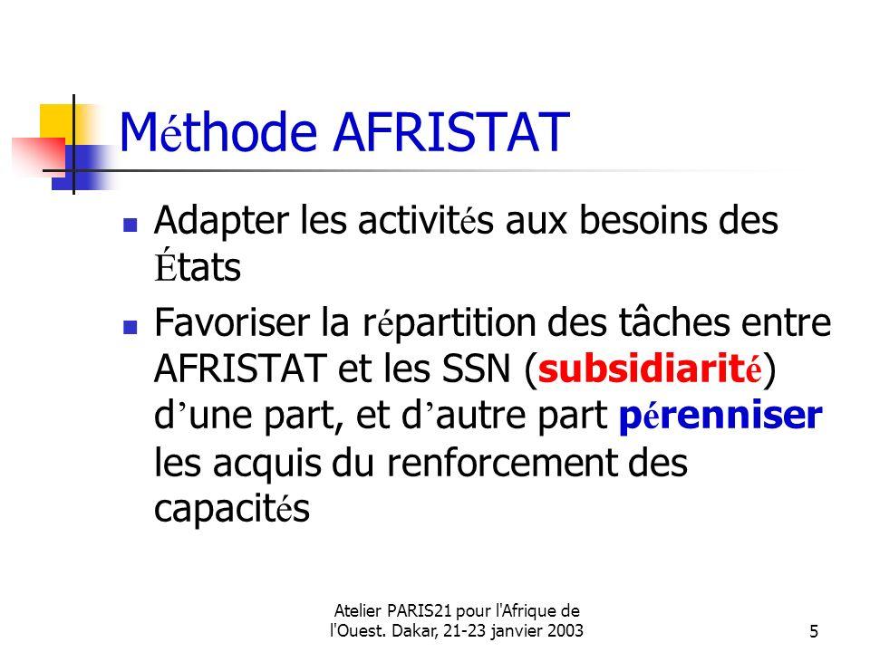 Atelier PARIS21 pour l'Afrique de l'Ouest. Dakar, 21-23 janvier 20035 M é thode AFRISTAT Adapter les activit é s aux besoins des É tats Favoriser la r