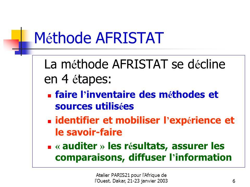 Atelier PARIS21 pour l'Afrique de l'Ouest. Dakar, 21-23 janvier 20036 M é thode AFRISTAT La m é thode AFRISTAT se d é cline en 4 é tapes: faire l inve