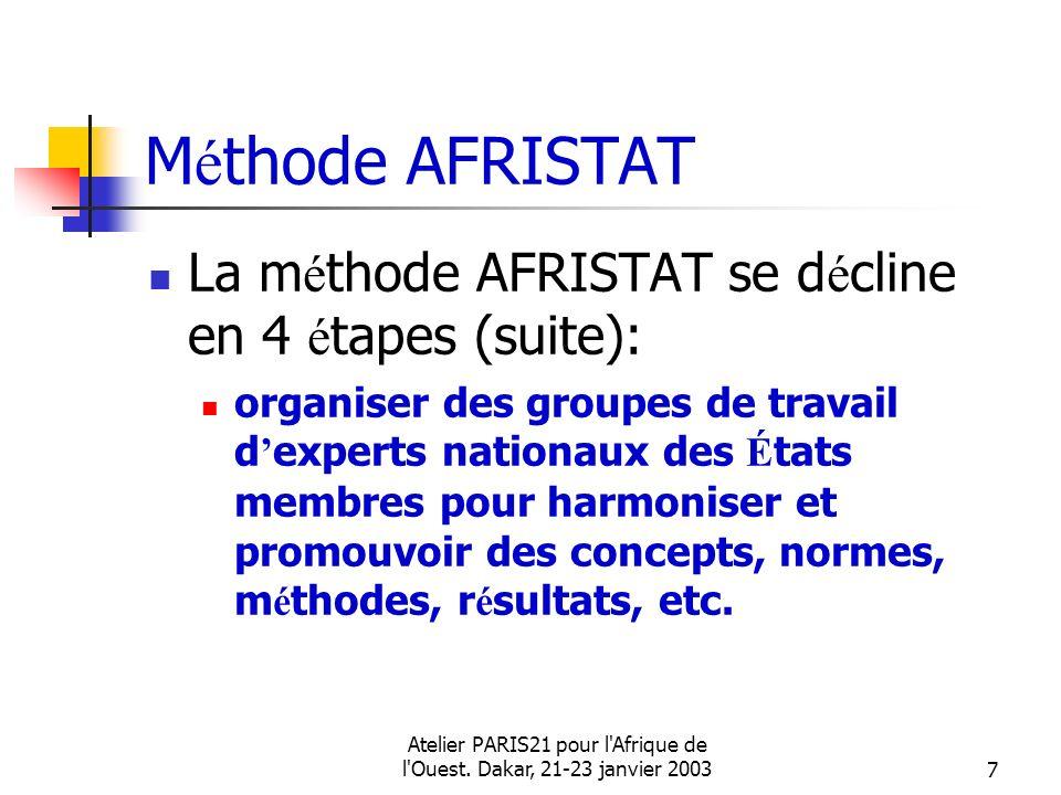 Atelier PARIS21 pour l'Afrique de l'Ouest. Dakar, 21-23 janvier 20037 M é thode AFRISTAT La m é thode AFRISTAT se d é cline en 4 é tapes (suite): orga