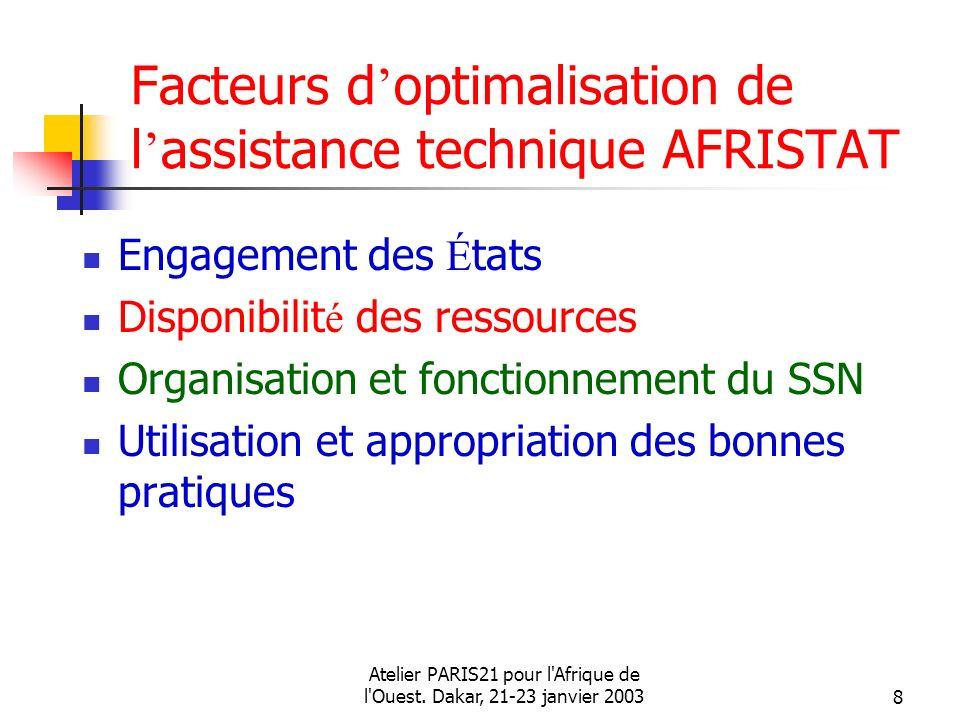 Atelier PARIS21 pour l'Afrique de l'Ouest. Dakar, 21-23 janvier 20038 Facteurs d optimalisation de l assistance technique AFRISTAT Engagement des É ta
