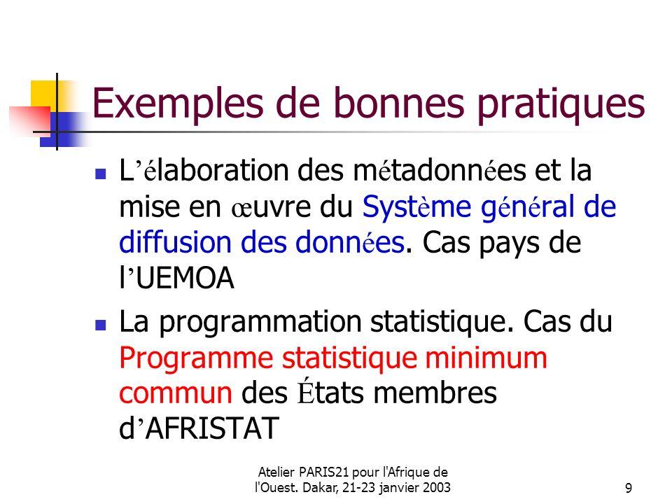 Atelier PARIS21 pour l'Afrique de l'Ouest. Dakar, 21-23 janvier 20039 Exemples de bonnes pratiques L é laboration des m é tadonn é es et la mise en œ
