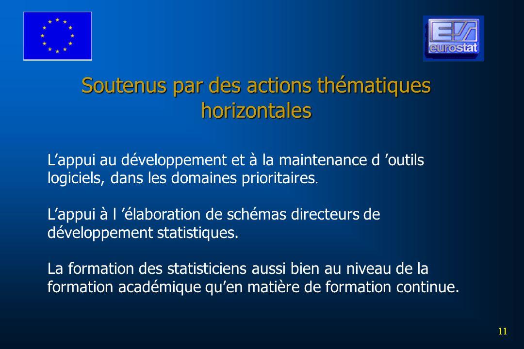 11 Soutenus par des actions thématiques horizontales Lappui au développement et à la maintenance d outils logiciels, dans les domaines prioritaires. L