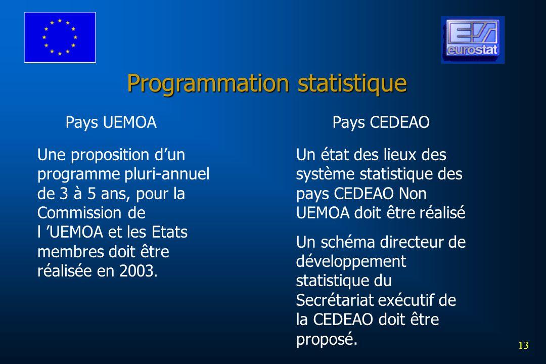 13 Programmation statistique Pays UEMOAPays CEDEAO Une proposition dun programme pluri-annuel de 3 à 5 ans, pour la Commission de l UEMOA et les Etats membres doit être réalisée en 2003.
