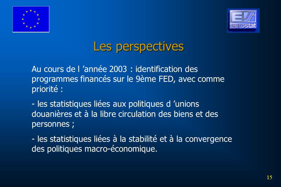 15 Les perspectives Au cours de l année 2003 : identification des programmes financés sur le 9ème FED, avec comme priorité : - les statistiques liées aux politiques d unions douanières et à la libre circulation des biens et des personnes ; - les statistiques liées à la stabilité et à la convergence des politiques macro-économique.