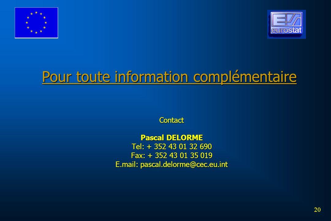 Pour toute information complémentaire Contact Pascal DELORME Tel: + 352 43 01 32 690 Fax: + 352 43 01 35 019 E.mail: pascal.delorme@cec.eu.int 20