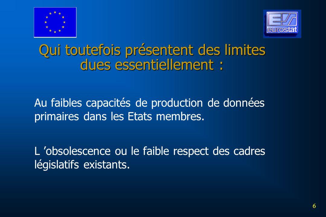 6 Qui toutefois présentent des limites dues essentiellement : Au faibles capacités de production de données primaires dans les Etats membres. L obsole
