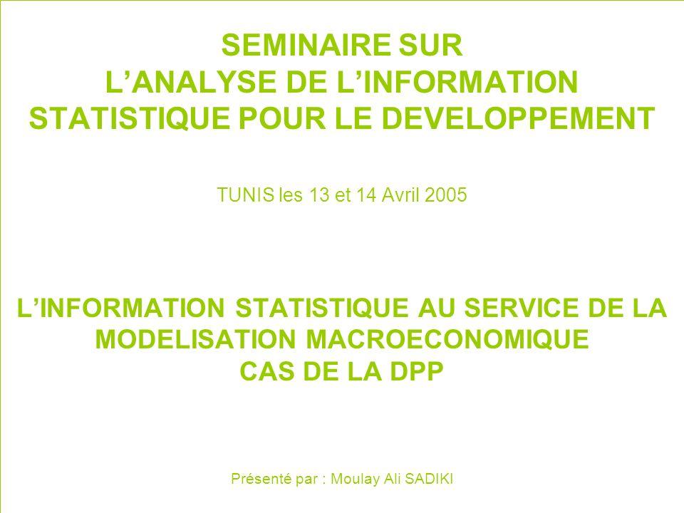 SEMINAIRE SUR LANALYSE DE LINFORMATION STATISTIQUE POUR LE DEVELOPPEMENT TUNIS les 13 et 14 Avril 2005 LINFORMATION STATISTIQUE AU SERVICE DE LA MODELISATION MACROECONOMIQUE CAS DE LA DPP Présenté par : Moulay Ali SADIKI