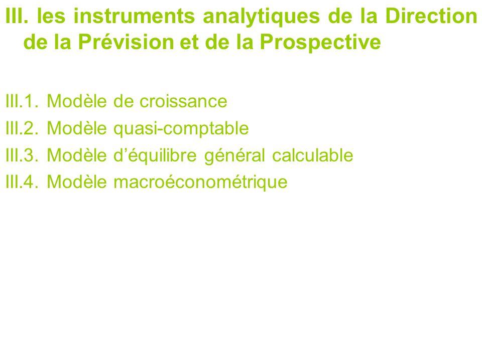 III. les instruments analytiques de la Direction de la Prévision et de la Prospective III.1. Modèle de croissance III.2. Modèle quasi-comptable III.3.