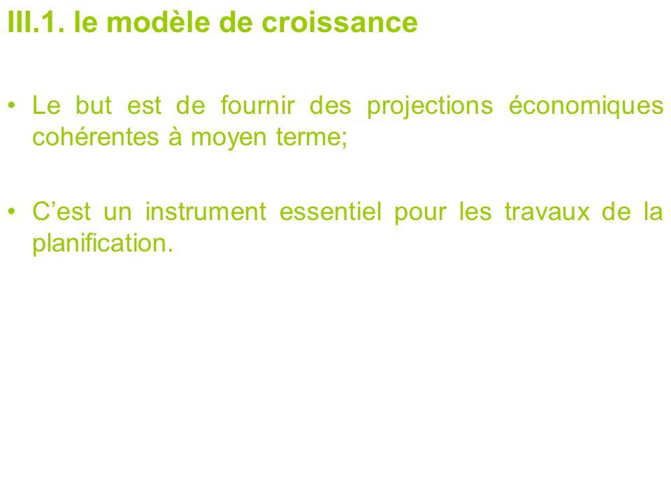 III.1. le modèle de croissance Le but est de fournir des projections économiques cohérentes à moyen terme; Cest un instrument essentiel pour les trava