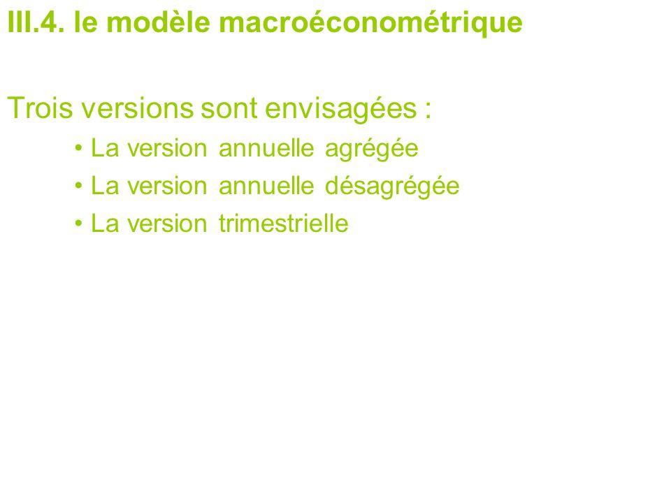 III.4. le modèle macroéconométrique Trois versions sont envisagées : La version annuelle agrégée La version annuelle désagrégée La version trimestriel