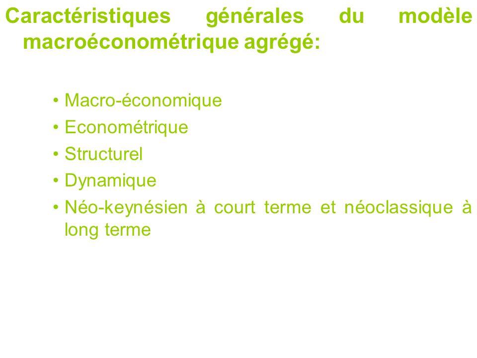 Caractéristiques générales du modèle macroéconométrique agrégé: Macro-économique Econométrique Structurel Dynamique Néo-keynésien à court terme et néo