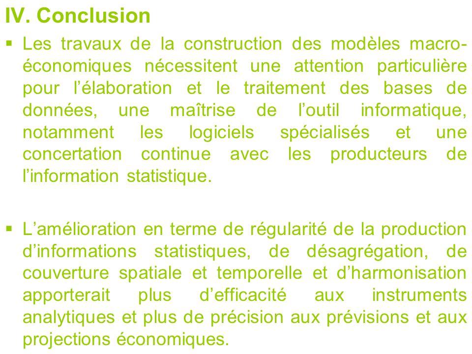 IV. Conclusion Les travaux de la construction des modèles macro- économiques nécessitent une attention particulière pour lélaboration et le traitement