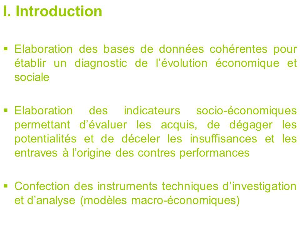 I. Introduction Elaboration des bases de données cohérentes pour établir un diagnostic de lévolution économique et sociale Elaboration des indicateurs