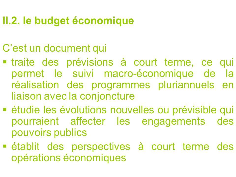 II.2. le budget économique Cest un document qui traite des prévisions à court terme, ce qui permet le suivi macro-économique de la réalisation des pro