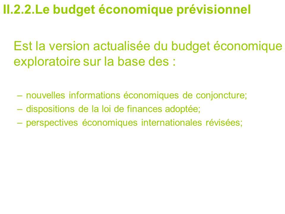 II.2.2.Le budget économique prévisionnel Est la version actualisée du budget économique exploratoire sur la base des : –nouvelles informations économiques de conjoncture; –dispositions de la loi de finances adoptée; –perspectives économiques internationales révisées;