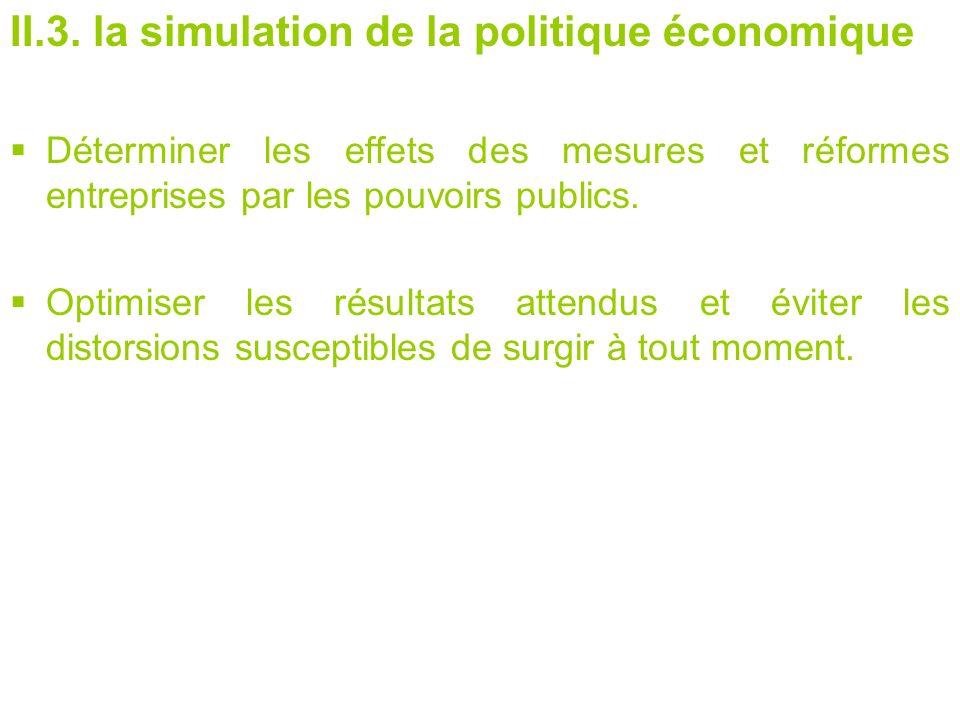 II.3. la simulation de la politique économique Déterminer les effets des mesures et réformes entreprises par les pouvoirs publics. Optimiser les résul