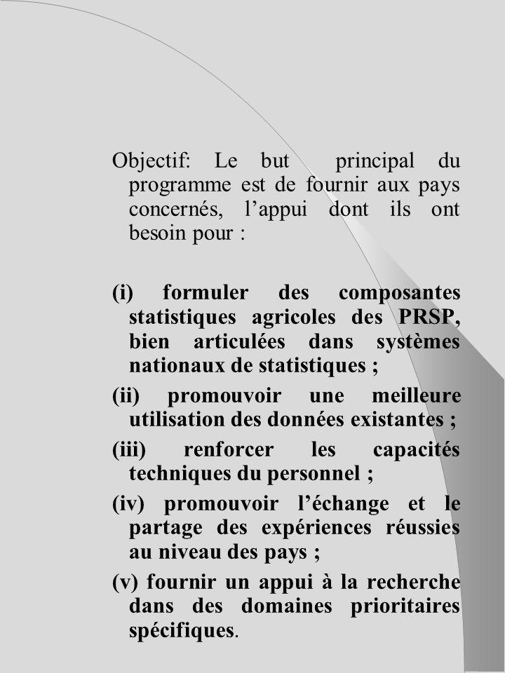 Objectif: Le but principal du programme est de fournir aux pays concernés, lappui dont ils ont besoin pour : (i) formuler des composantes statistiques agricoles des PRSP, bien articulées dans systèmes nationaux de statistiques ; (ii) promouvoir une meilleure utilisation des données existantes ; (iii) renforcer les capacités techniques du personnel ; (iv) promouvoir léchange et le partage des expériences réussies au niveau des pays ; (v) fournir un appui à la recherche dans des domaines prioritaires spécifiques.